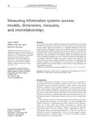 measuring information systems success models dimensions