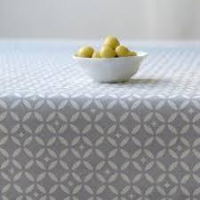 mosaic grey coated tablecloth 100 cotton by fleur de soleil