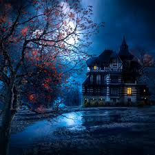 Halloween Backdrop Halloween Backdrop Scary Scene House Moon Lake Fall Party