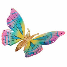 butterfly pink blue yellow personalized ornament