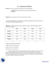 Accuracy Vs Precision Worksheet Answers Accuracy Vs Precision General Chemistry Quiz Docsity