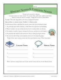 abstract and concrete nouns 3rd grade noun worksheet