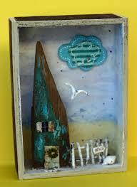 beach house diorama shadow box turquoise found item stick