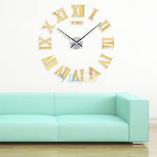 luxury diy wall clock 3d roman numerals stickers home art modern description