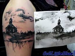 accurate painted black ink detailed old ruined church tattoo on