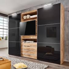 Schlafzimmerschrank Grau Schwebetürenschrank Magic Kleiderschrank Plankeneiche Schlammeiche