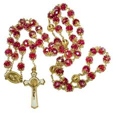 red crystal bead necklace images Rosary beads red crystal beaded gold plated necklace with jpg