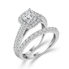 diamond bridal sets limited edition princess cut diamond bridal set in white gold 1 3