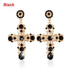 black dangle earrings vintage women bohemian gold cross ear stud dangle