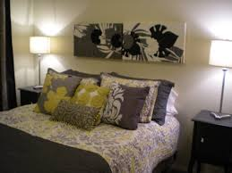 yellow and gray bedroom white bedding grey living room walls