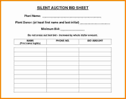 Bid Sheets For Silent Auction Template 10 Silent Auction Bid Sheet Templates Free