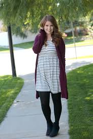 one dress three ways stripes and a cardigan modest