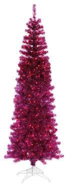 7 5 fuchsia pencil tree with purple mini lights trees