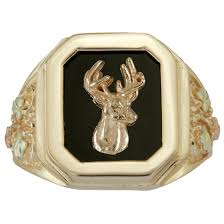men u0027s coleman black hills gold deer and onyx octagon 10k gold