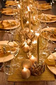 Christmas Decoration Table Center by Glittering Textured Candles Gold Ornaments And Succulents Turned