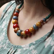 bead rope necklace images Buy fashion jewelry handmade ceramic beads rope jpg