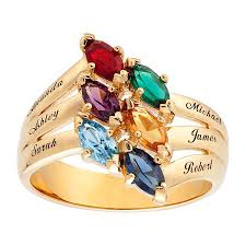 mothers ring with names s marquise simulated birthstone ring in 10k gold 2 7 names