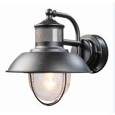 Lowes Porch Lights by Shop Secure Home Nautical 9 4 In H Matte Black Motion Activated