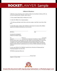 affidavit of residence form residency affidavit sample