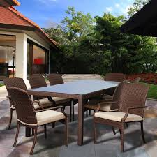 Atlantic Patio Furniture Rolland 8 Piece Brown Synthetic Wicker Rectangular Patio Dining