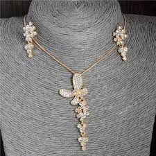 flowers with butterfly necklace images Minhin graceful butterfly pendant necklace sets flowers design jpg