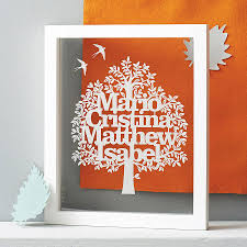 personalised family tree papercut by eticuts notonthehighstreet