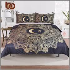 bedding 3 pcs gold mandala flowers star moon duvet cover black dark blue bedding set soft