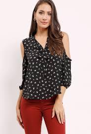 open shoulder blouse floral print self tie open shoulder blouse shop sleeve at