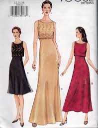 vogue 7609 misses size 12 14 16 evening length dress with