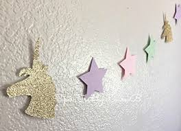 unicorn garland in gold glitter and pastel color