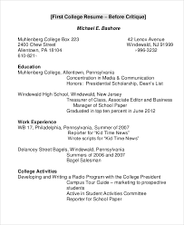 Resume Sample For College by College Resume Example 8 Samples In Word Pdf