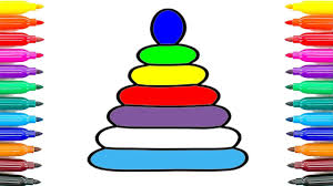 how to draw rainbow pyramid coloring pages for kids how to paint