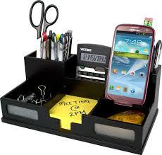 victor 9525 5 midnight black desk organizer with smart phone