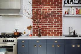 Vintage Kitchen Cabinet Pulls Blue Gray Flat Front Kitchen Cabinets With Vintage Brass Recessed
