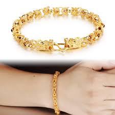 gold bracelet styles images Fashion men 7mm wide yellow gold filled bracelet dragon head style jpg