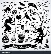 Halloween Card Invitation Black White Halloween Set Vector Illustration Stock Vector