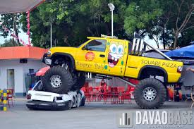 monster truck crushes small car in medical drive davaobase