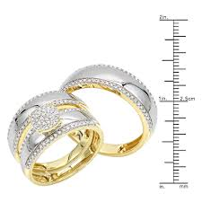 his and wedding ring set luxurman 10k gold engagement his and hers trio diamond wedding