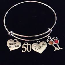 birthday charm bracelet happy 50th birthday cousin expandable silver charm bracelet