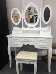 Vanity Folding Mirror Tri Folding Mirror White Vanity Table Set Makeup Dresser Table 7