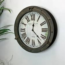 antiqued distressed porthole wall clock shabby chic the farthing