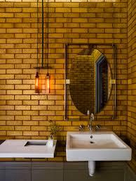 industrial bathroom love the mirror detailing wine bar cafe
