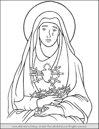 sorrowful heart of mary coloring page catholic coloring pages