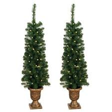 prelit 4 foot entryway porch tree set of 2 free shipping today