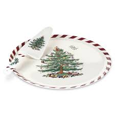 spode tree peppermint cake plate and server