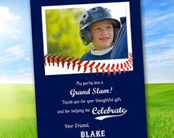 baseball photo thank you card baseball photo gift tag