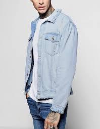 light distressed denim jacket 100 cotton men light blue raw hem distressed denim jacket buy