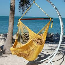 large caribbean hammock chair with footrest yellow polyester