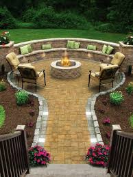 Firepit Bench Outdoor Curved Pit Bench Concrete Garden Seating Area