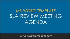 Word Template Meeting Agenda by Sla Review Meeting Agenda Template